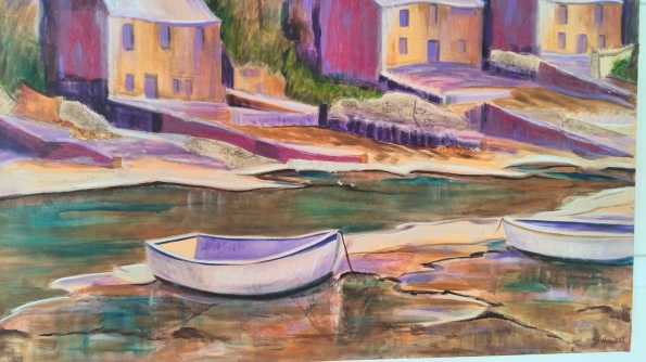 Pink, mauve, cottages, small stream, boats