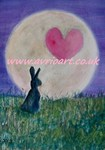 Art Cards, Moon, Hares, Greetings Cards, Love cards,